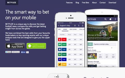Screenshot of Home Page betfuze.com - BETFUZE   The Smart Way To Bet On Your Mobile - captured Sept. 30, 2014