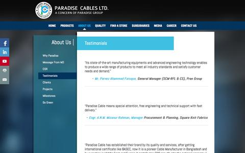 Screenshot of Testimonials Page paradisecables.com - Paradise Cables Limited : Testimonials - captured Oct. 1, 2014