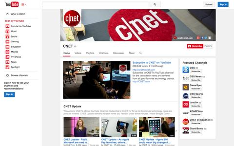 Screenshot of YouTube Page youtube.com - CNET  - YouTube - captured Oct. 22, 2014
