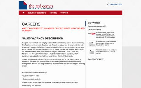 Screenshot of Jobs Page theredcorner.co.uk - Careers | The Red Corner - captured Feb. 28, 2016