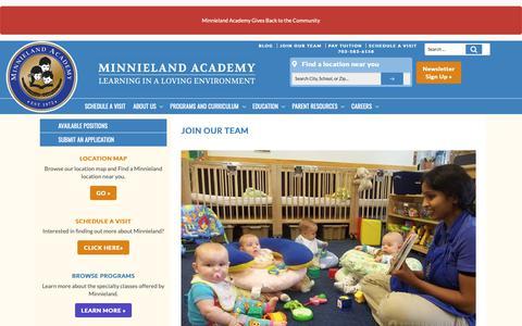 Screenshot of Jobs Page minnieland.com - Join Our Team - Minnieland Academy - captured Nov. 17, 2018