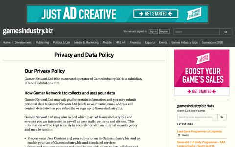Screenshot of Privacy Page gamesindustry.biz - Privacy and Data Policy | GamesIndustry.biz - captured Sept. 21, 2018