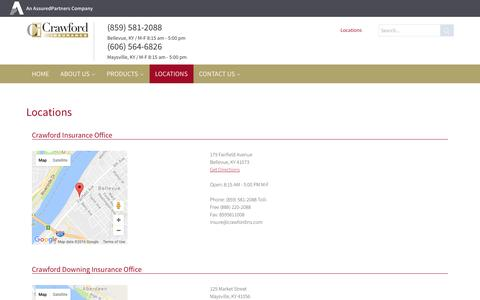 Screenshot of Locations Page crawfordins.com - Crawford > Locations - captured Nov. 13, 2016