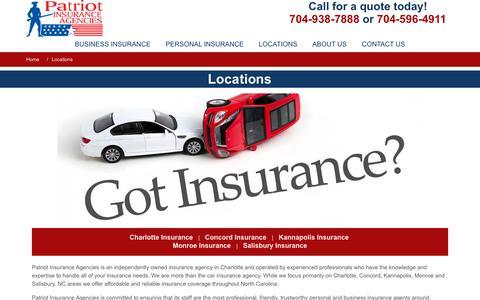 Screenshot of Locations Page patriotagencies.com - Patriot Insurance Agencies - North Carolina Locations - captured Sept. 27, 2018