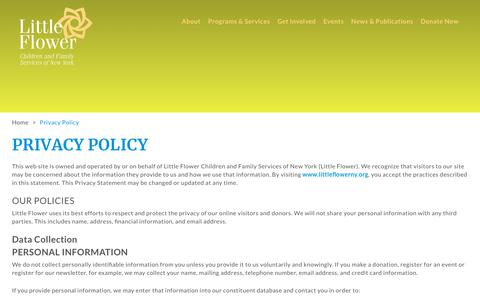 Screenshot of Privacy Page littleflowerny.org - Privacy Policy – Little Flower Children's Services of New York - captured Sept. 29, 2018