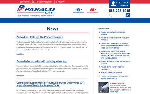 Screenshot of Press Page paracogas.com - News | Paraco Gas - captured Jan. 25, 2016
