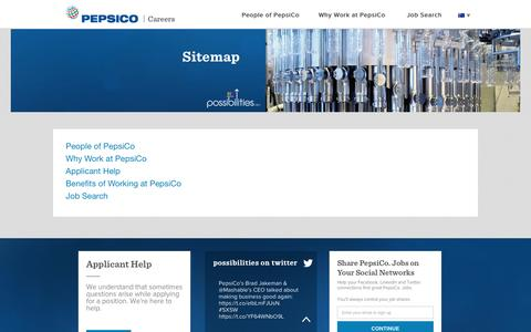 Screenshot of Site Map Page pepsicojobs.com - Sitemap - captured March 30, 2016