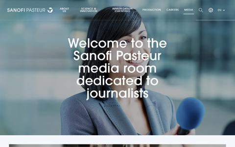 Screenshot of Press Page sanofipasteur.com - Media - Sanofi Pasteur - captured Nov. 30, 2018