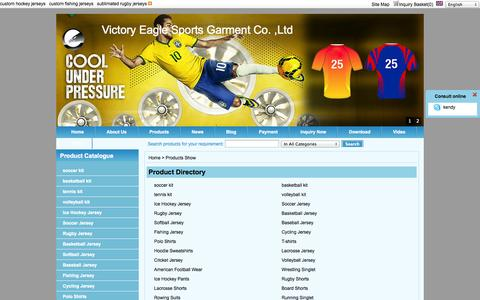 Screenshot of Products Page vesportswear.com - Products-custom hockey jerseys,custom fishing jerseys, sublimated rugby jerseys,custom lacrosse jerseys and shorts,sublimated Racing shirts Manufacturers & Suppliers - Victory Eagle Sports Garment Co. ,Ltd - captured Oct. 26, 2014