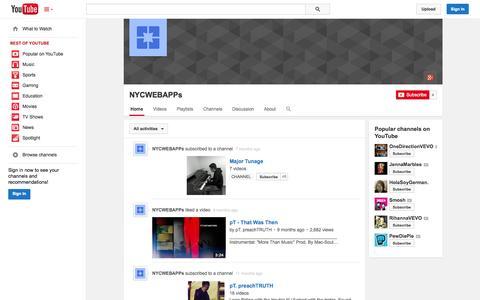 Screenshot of YouTube Page youtube.com - NYCWEBAPPs  - YouTube - captured Oct. 26, 2014