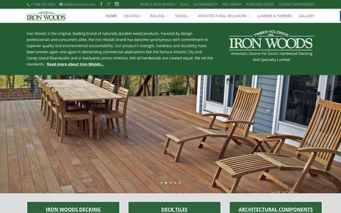 Screenshot of Home Page ironwoods.com - Timber Holdings USA | Iron Woods Ipe Decking, Exotic Hardwood Decking And Specialty Lumber - captured Feb. 16, 2016