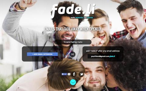 Screenshot of Home Page fade.li - Fade.li - Email that fades away - captured Sept. 20, 2015
