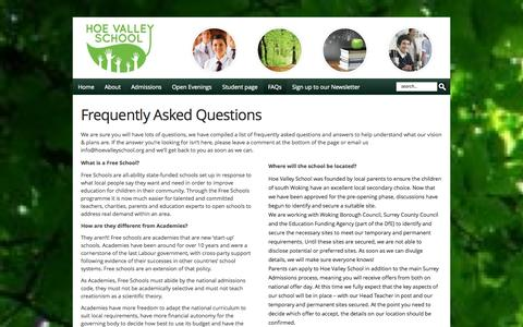 Screenshot of FAQ Page hoevalleyschool.org - Frequently Asked Questions   Hoe Valley School - captured Oct. 9, 2014