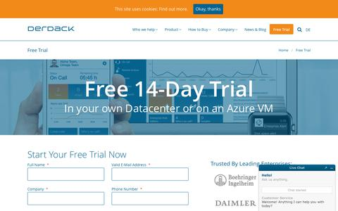 Screenshot of Trial Page derdack.com - Derdack | Start your free 14-Day Trial today. Join leading brands - captured June 4, 2017