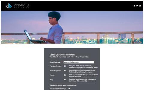 Screenshot of Landing Page pyramidanalytics.com captured June 8, 2018