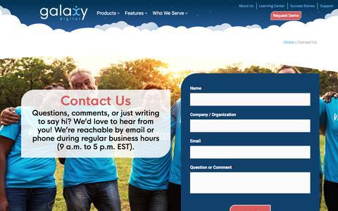 Screenshot of Contact Page galaxydigital.com - Contact Us | Galaxy Digital - captured Aug. 20, 2019