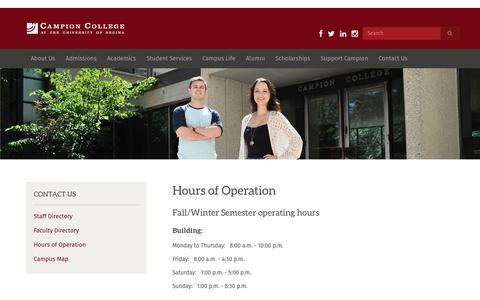 Screenshot of Hours Page campioncollege.ca - Hours of Operation « Campion College - captured Oct. 25, 2018