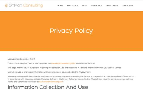 Screenshot of Privacy Page onplanconsulting.com - Contact Us | OnPlan Consulting - captured July 6, 2018