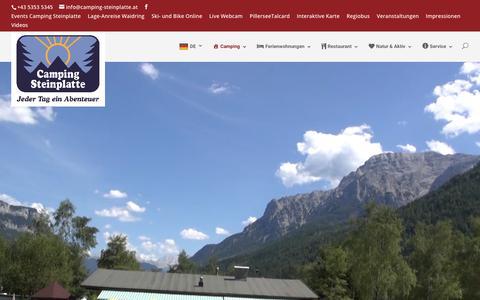 Screenshot of Home Page camping-steinplatte.at - Camping Steinplatte Waidring - Camping Steinplatte Waidring - captured June 24, 2018