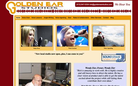 Screenshot of Home Page goldenearstudios.com captured Dec. 12, 2015