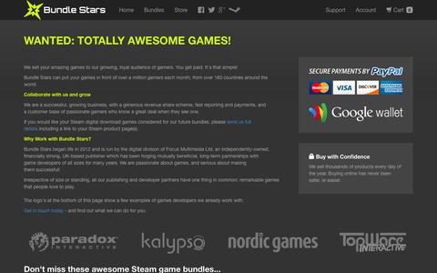 Screenshot of Developers Page bundlestars.com - Benefits for developers and partners working with Bundle Stars - captured Oct. 30, 2014