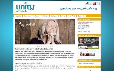 Screenshot of Home Page unityofnashville.org - Unity of Nashville | A positive path for spiritual living - captured Feb. 13, 2016