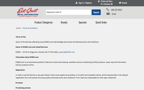 Screenshot of Terms Page ecmdi.com - Terms & Conditions | East Coast Metal Distributors - captured July 13, 2017