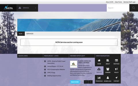 Screenshot of Services Page ncpa.com - Services   NCPA - captured Jan. 10, 2016
