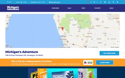 Screenshot of Maps & Directions Page miadventure.com - Directions to Michigan's Adventure - Park Map   Michigan's Adventure - captured Aug. 26, 2017
