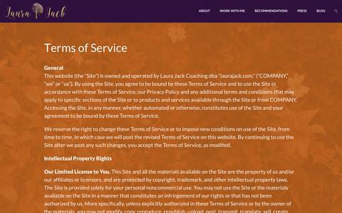 Screenshot of Terms Page laurajack.com - Terms of Service - Laura Jack Blog - captured Oct. 29, 2016