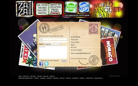 Screenshot of Contact Page zazabazaar.com - Za Za Bazaar - World Banquet & Bar - Contact Us - captured Sept. 30, 2014
