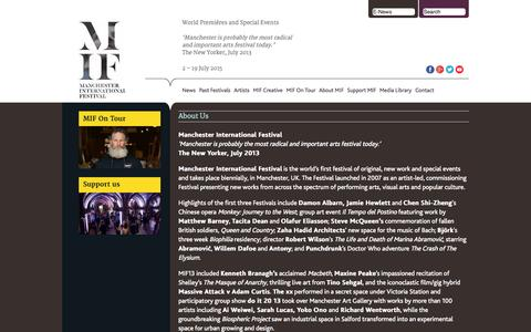 Screenshot of About Page mif.co.uk - About MIF: All you Need to Know About Manchester International Festival - captured Oct. 4, 2014