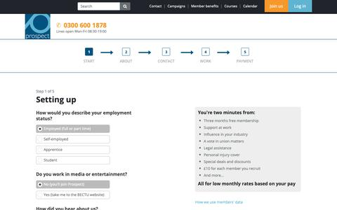 Screenshot of Signup Page prospect.org.uk - Start - captured Nov. 6, 2018
