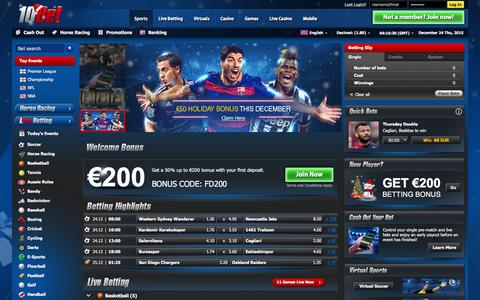 Screenshot of Home Page 10bet.com - Online Sports Betting at 10Bet - Best live odds, offers and tips - captured Dec. 23, 2015