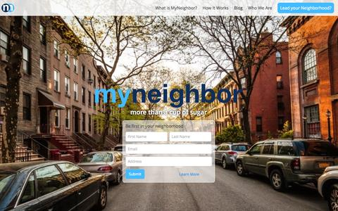 Screenshot of Home Page myneighbor.com - MyNeighbor | more than a cup of sugar - captured Jan. 26, 2015