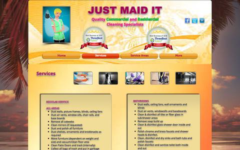 Screenshot of Services Page justmaidit.ca - justmaiditcleans | Services - captured Oct. 13, 2018