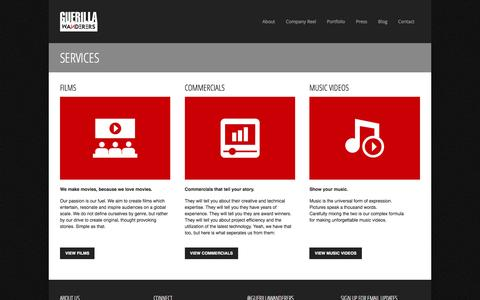 Screenshot of Services Page guerillawanderers.com - Guerilla Wanderers | About | Services - captured Feb. 2, 2016