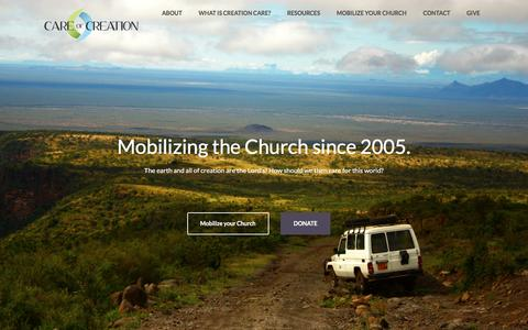 Screenshot of Home Page careofcreation.net - Care of Creation – Mobilizing the Church to care for God's creation. - captured Oct. 21, 2016