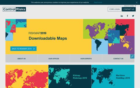 Screenshot of Maps & Directions Page controlrisks.com - RiskMap 2019 | Maps - The forecast of political and security risk for every country in the world. - captured Dec. 14, 2018