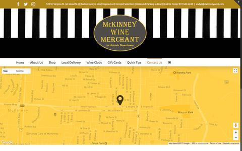 Screenshot of Contact Page mckinneywine.com - Contact – McKinney Wine Merchant - captured Oct. 4, 2017