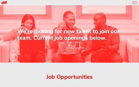 Screenshot of Jobs Page diffagency.com - Careers - captured July 6, 2018