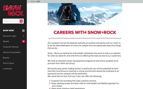 Screenshot of Jobs Page snowandrock.com - Jobs | Snow and Rock - captured Nov. 15, 2016