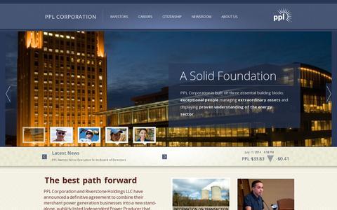 Screenshot of Home Page pplweb.com - PPL Corporation - captured July 11, 2014