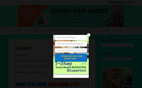 Screenshot of Support Page johanvanaarde.com - Support > Johan Van Aarde - JohanVanAarde.com - captured Oct. 18, 2018