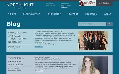 Screenshot of Blog northlight.org - Northlight Theatre   Blog - captured Dec. 20, 2016