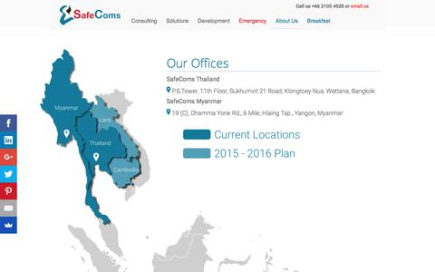 Screenshot of Locations Page safecoms.com - Locations | Bangkok Thailand & Yangon Myanmar | SafeComs - captured July 25, 2018