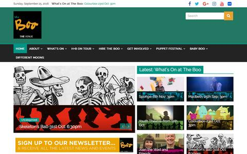 Screenshot of Home Page horseandbamboo.org - The Boo – Horse + Bamboo Theatre - captured Sept. 25, 2016