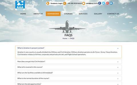 Screenshot of FAQ Page aaa.co.in - Faqs - Ahmedabad Aviation & Aeronautics Ltd. - captured Oct. 3, 2018