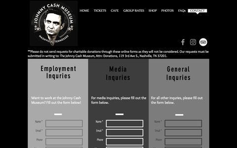 Screenshot of Contact Page johnnycashmuseum.com - Johnny Cash Museum | Nashville, TN | Contact - captured Oct. 18, 2018