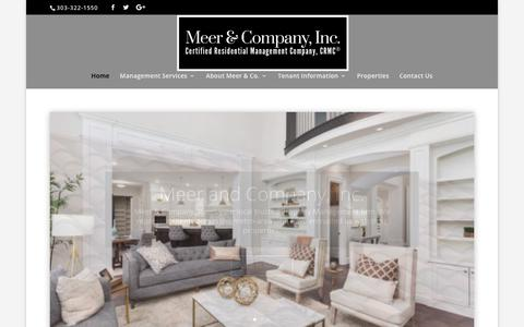 Screenshot of Home Page meerandco.com - Meer and Company, Inc. – Denver's Trusted Hometown Property Managers - captured July 30, 2019